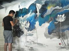 中国风客厅电视背景3D彩绘