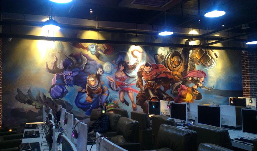 漫威人物主题网咖墙绘设计