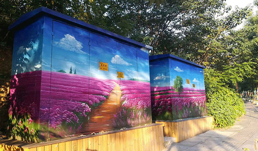 公路配电箱薰衣草主题墙绘