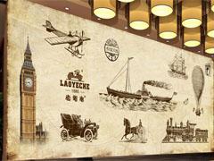 欧美复古风奶茶店墙画设计