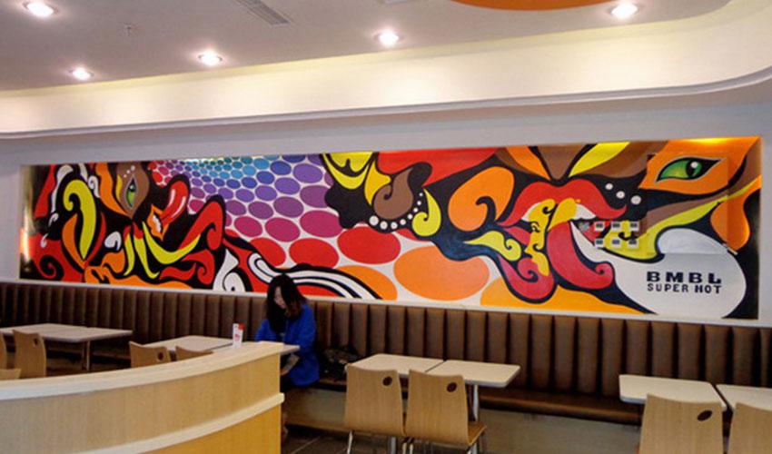 奶茶店墙面彩绘涂鸦墙绘